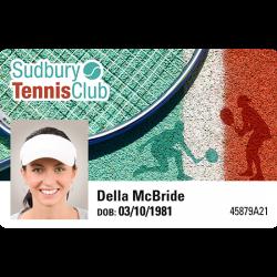 Badge de club de tennis format carte PVC Badgy